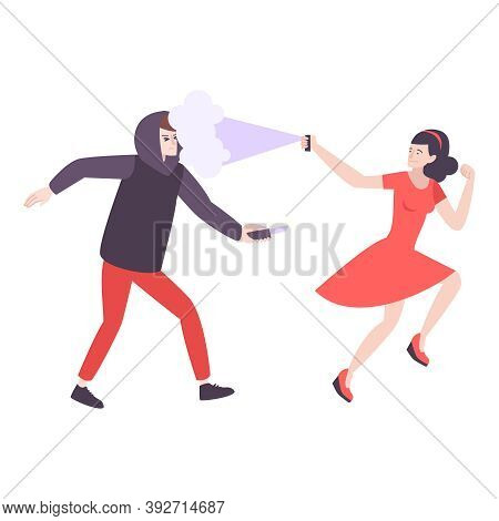 Self Defense Flat Composition With Woman Running From Robber With Knife Spraying Pepper Vector Illus