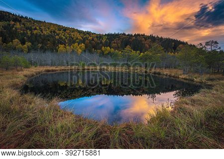 Beautiful Autumn Landscape With Small Lake In The Swamp. Colorful Autumn Forest Reflection On The Wa