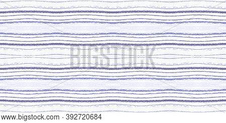 Geometric Pen Drawn Brush Strokes. Lilac Trendy Lines Pattern. Seamless Vintage Art Decoration. Blue
