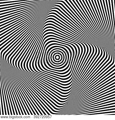 Illusion of rotation whirl movement. Lines texture. Abstract op art design.