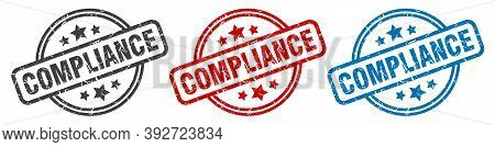 Compliance Stamp. Compliance Round Isolated Sign. Compliance Label Set