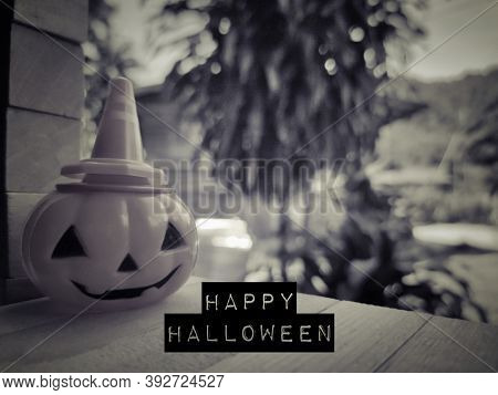 Celebration Concept Text - Happy Halloween In Vintage Background. Stock Photo.