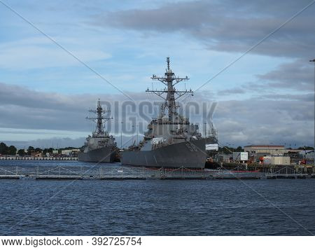 Norfolk, Usa - June 9, 2019: Several Naval Vessels Anchor In The Norfolk Naval Base.