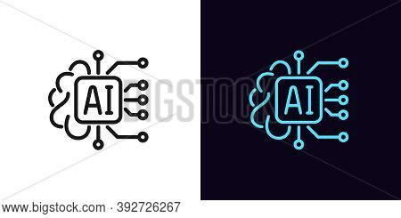 Outline Ai Icon. Linear Artificial Intelligence Sign With Editable Stroke, Digital Mind. Big Data, D