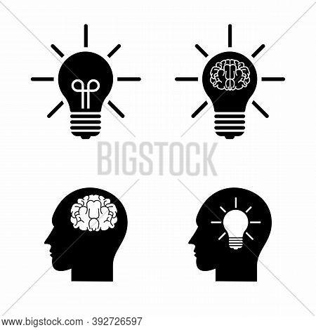 Mind Process Icon Set. Creative Think, Intelligence, Brainstorming, Mental Work, Brain Thinking, Emo