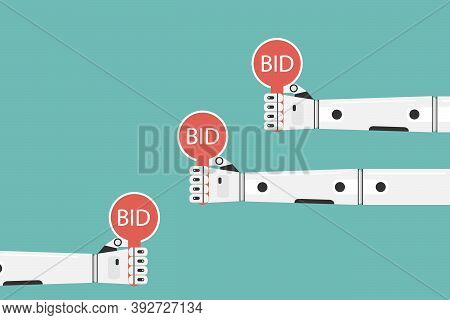 Auction, Bidding, Bid. The Robots Hand Holds A Bet Sign. Vector, Cartoon Illustration.