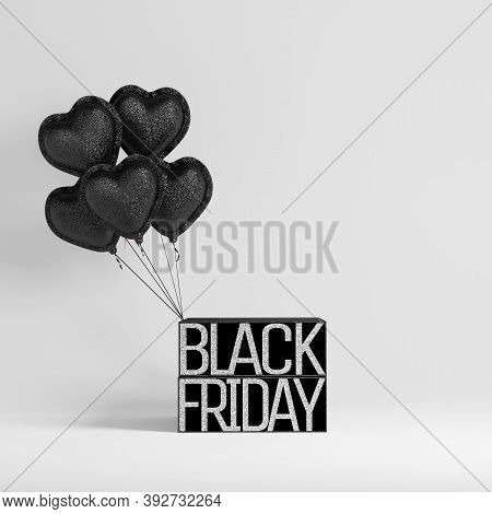 3d Background, Podium Display With Black Balloons. Black Friday Studio Concept For Product Presentat