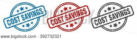 Cost Savings Stamp. Cost Savings Round Isolated Sign. Cost Savings Label Set
