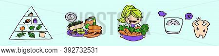Set Of Cheerful Nutritionist Cartoon Icon Design Template With Various Models. Vector Illustration I