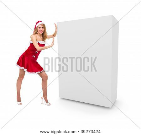 Christmas Girl Pushes A Blank Box.
