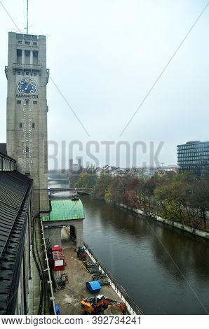 Aerial View Landscape Cityscape Of Munich City With Clock Tower Of Des Deutsches Museum Bibliothek L