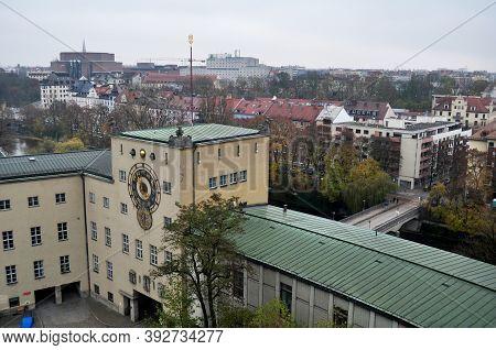 Aerial View Landscape Cityscape Of Munich City From Roof Top Of Des Deutsches Museum Bibliothek Libr