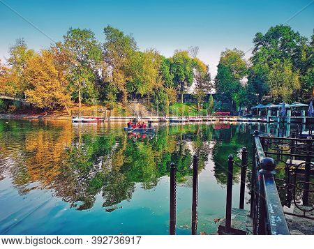 Almaty - Kazakhstan - October, 08, 2019: Central Park Of Almaty, Kazakhstan