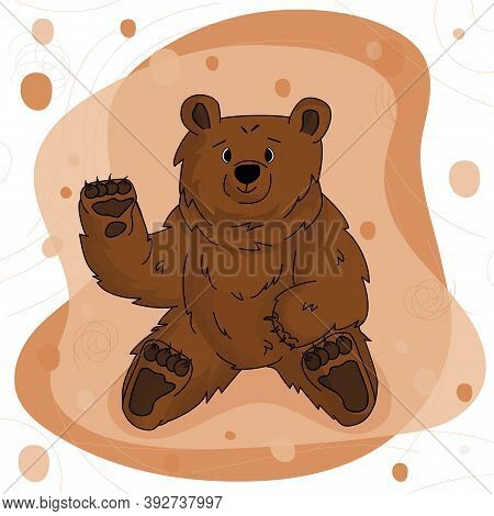 Hand Drawn Happy Bear Grizzly Is Waving Hand And Sits On Brown Pink Background