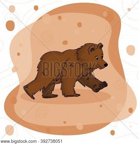 Hand Drawn Bear Grizzly On Walk On Brown Pink Background