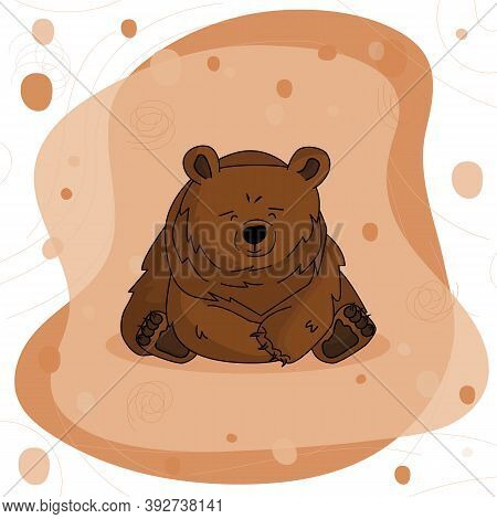Hand Drawn Unhappy Bear Grizzly That Sits And Thinks About Many Problems On Brown Pink Background