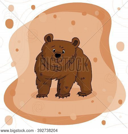 Hand Drawn Bear Grizzly That Stands And Learning Something Or Watching To Somewhere On Brown Pink Ba