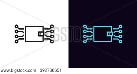 Outline Digital Wallet Icon. Linear Electronic Wallet Sign With Editable Stroke, Online Banking. Dig