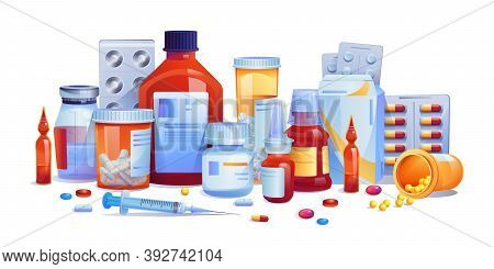 Medication Drugs, Pills And Tablets, Capsules Set Isolated Icons. Vector Meds, Pharmaceutical Pharma