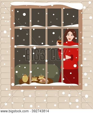 Illustration Of A Young Woman With Hot Coffee Watching The Snow Fall From The Window. Cozy Home Vect