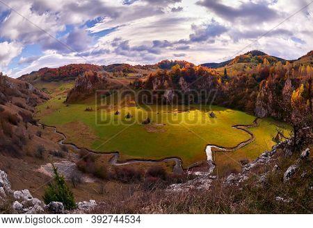 mountain landscape in autumn morning - Fundatura Ponorului, Romania - aerial view