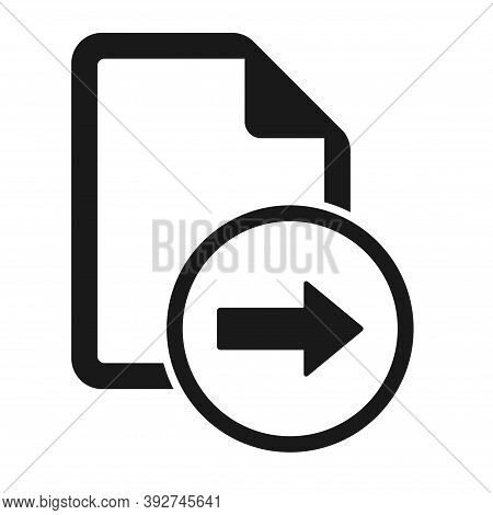 File Flat Icon With Right Arrow Isolated On White Background. Reply Document Symbol Vector Illustrat
