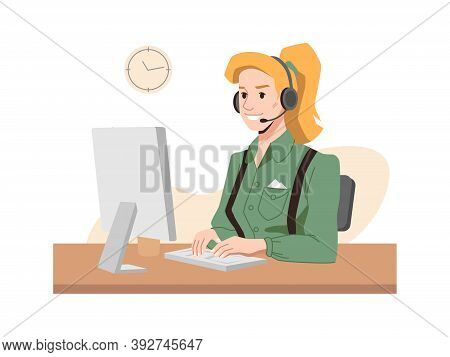 Call Center Worker, Vector Blonde In Headphones, Hotline Operator At Workplace, Woman Typing On Comp