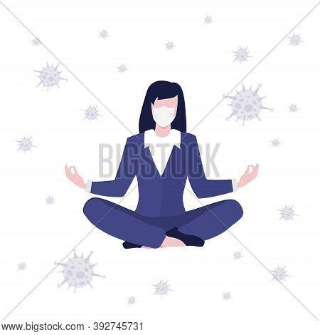 Vector Worker Girl Or Business Woman In Suit Sitting On Floor In Lotus In Medical Mask Around   Viru