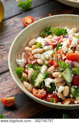 Bean Salad With Cherry Tomatoes, Cucumber, Red Onion, Feta Cheese And Parsley. Healthy Vegetarian, V