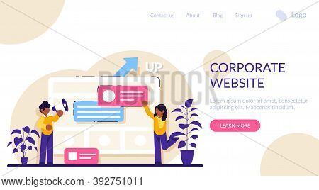 Corporate Website Concept. Official Company Website. Business Online Representation. Corporate Visio