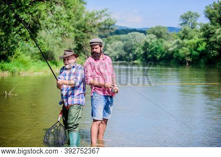 Summer Weekend. Peaceful Activity. Nice Catch. Rod And Tackle. Fisherman Fishing Equipment. Fisherma