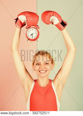 Time For Boxing Training. Punctuality And Personal Efficiency. Control Time. Time Management Skills.
