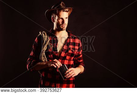 Ride A Fast Horse. Cowboy With Lasso Rope. Western. Man Checkered Shirt On Ranch. Western Cowboy Por