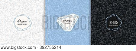 Vector Minimalist Seamless Patterns Set With Stylish Modern Labels. Elegant Geometric Texture With S