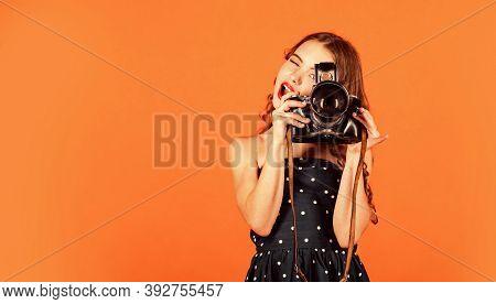 Beautiful Child Photographer Hold Retro Camera. Journalist Is My Future Career. Little Reporter Make