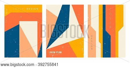 Vector Set Of Abstract Geometric Covers. Modern Backgrounds With Copy Space For Text. Creative Geome