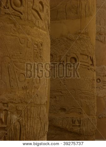 Hieroglyphs in Pillars Close View