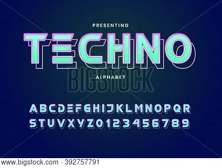 Futuristic Neon Light Custom Font Alphabet Style. Techno Style Typography For Electronic Music