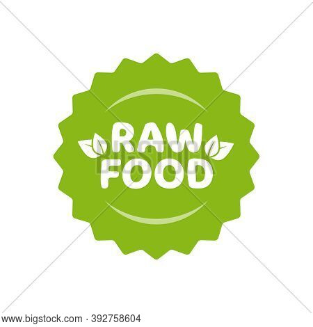 Raw Food Icon Stamp Label Vector Badge Isolated, Fresh Product Green Logo For For Eco-friendly Veget