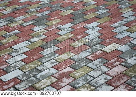 Mosaic Paving Slabs. Road Paving, Construction. Colored Concrete Paving Stones