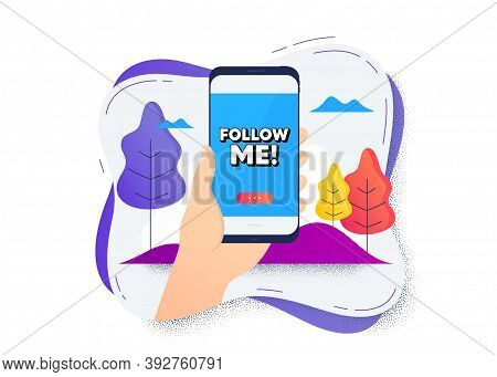 Follow Me Symbol. Hand Hold Mobile Phone Icon. Smartphone Message. Special Offer Sign. Super Offer.