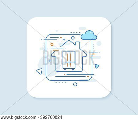 Two-chamber Refrigerator Line Icon. Abstract Vector Button. Fridge Sign. Freezer Storage Symbol. Ref