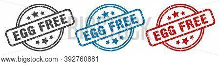 Egg Free Stamp. Egg Free Round Isolated Sign. Egg Free Label Set