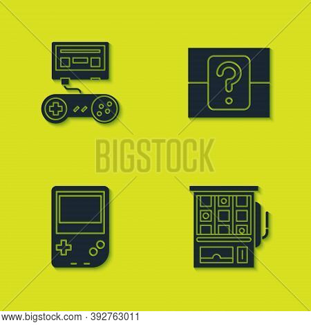 Set Game Console With Joystick, Slot Machine, Portable Video Game And Mystery Random Box Icon. Vecto