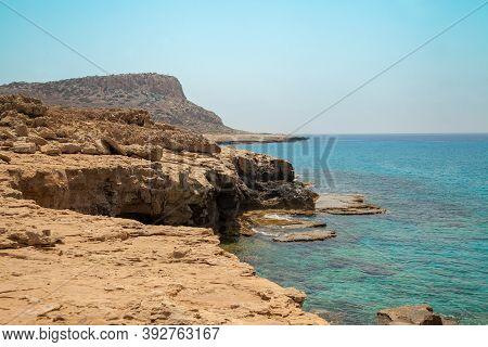 Rocky Sea Shore. Beautiful Nature Of Cyprus