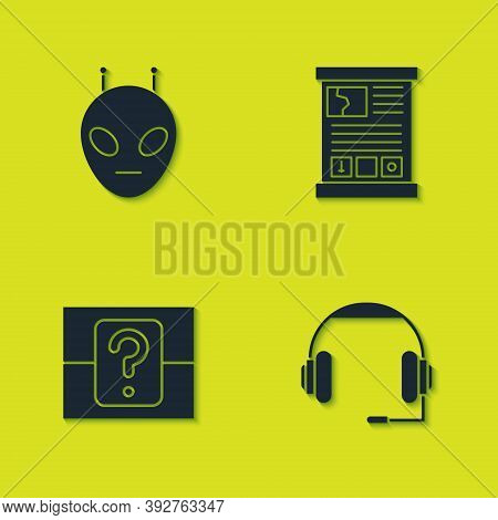 Set Alien, Headphones, Mystery Or Random Box And Game Guide Icon. Vector