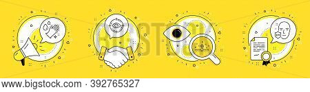 Clean Skin, Eye Target And Washing Hands Line Icons Set. Megaphone, Licence And Deal Vector Icons. U