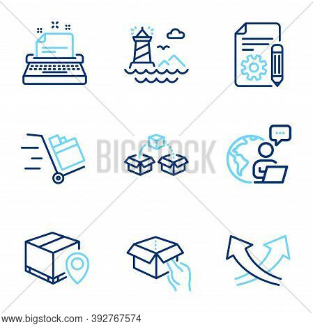 Industrial Icons Set. Included Icon As Hold Box, Parcel Tracking, Lighthouse Signs. Parcel Shipping,