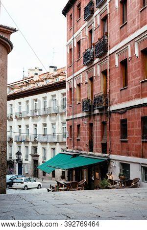 Madrid, Spain - 4th October, 2020: Picturesque View Of Restaurant In Nuncio Street In Latina Quarter