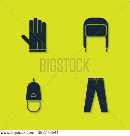 Set Leather Glove, Pants, Police Cap With Cockade And Winter Hat Ear Flaps Icon. Vector
